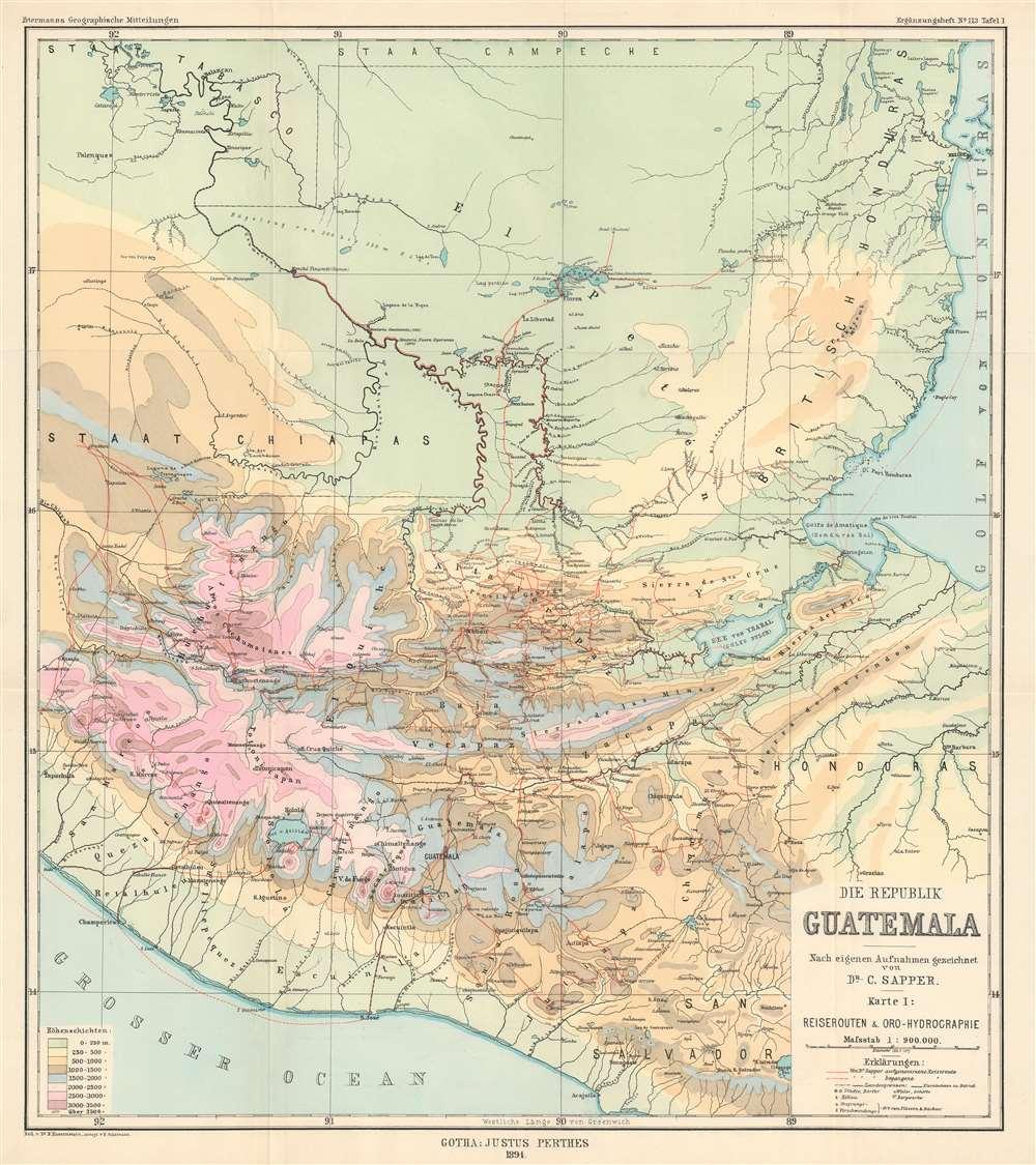 Die Republik Guatemala Nach eigenen Aufnahmen gezeichnet von Dr. C. Sapper. Karte I: Reiserouten und Oro-Hydrographie - Main View