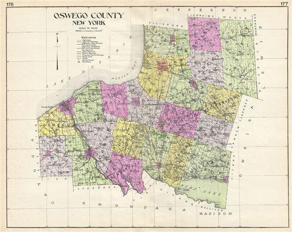 Map Of New York Oswego.Oswego County New York Geographicus Rare Antique Maps