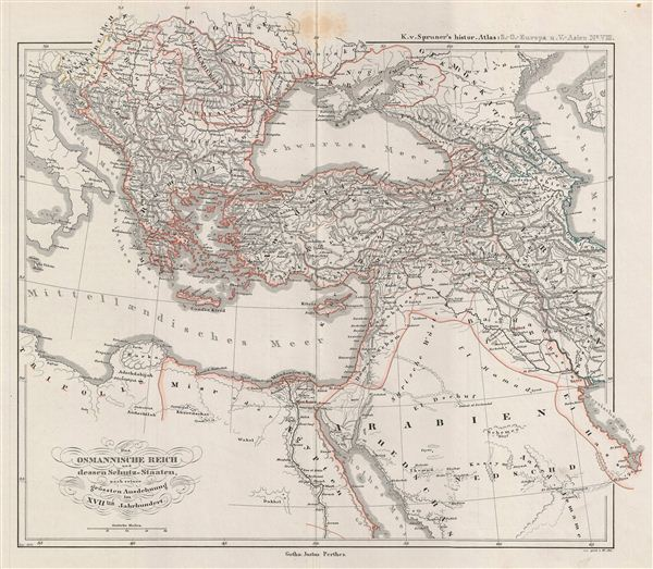 Das osmannische Reich und dessen Schutz-Staaten, nach seiner grossten Ausdehnung im XVIIten Jahrhundert.