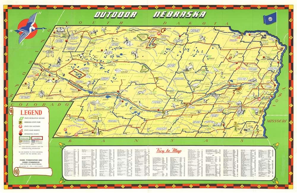 1939 Christiansen Map of Nebraska illustrating 'Outdoor Life'