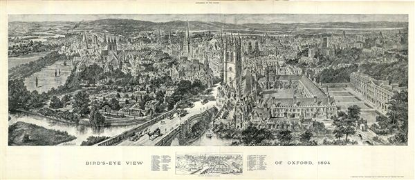 Bird's-Eye View of Oxford, 1894 - Main View