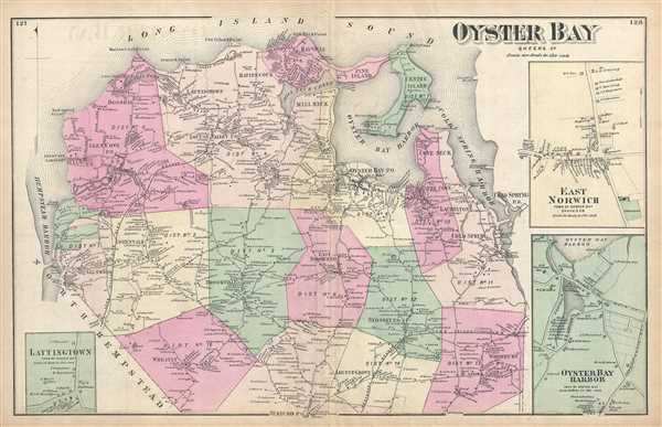 Oyster Bay New York Map.Oyster Bay Queens Co Geographicus Rare Antique Maps