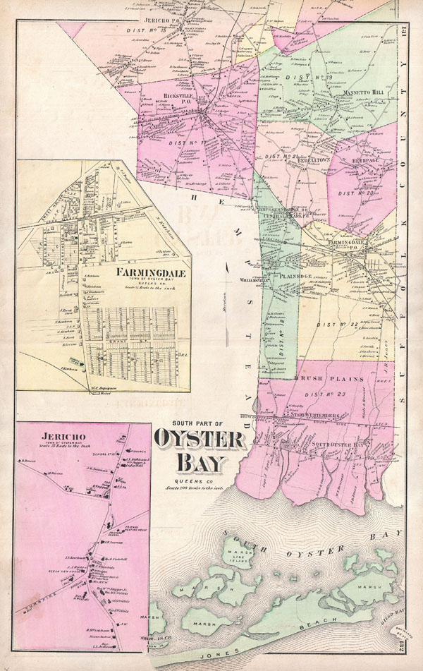1873 Beers Map of Oyster Bay, Queens, New York City