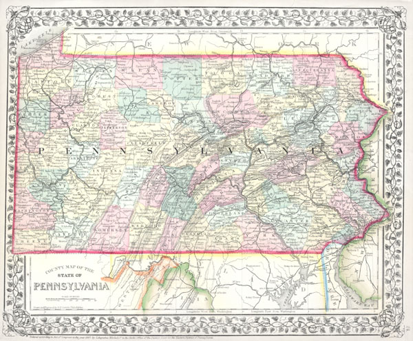 County Map of the State of Pennsylvania