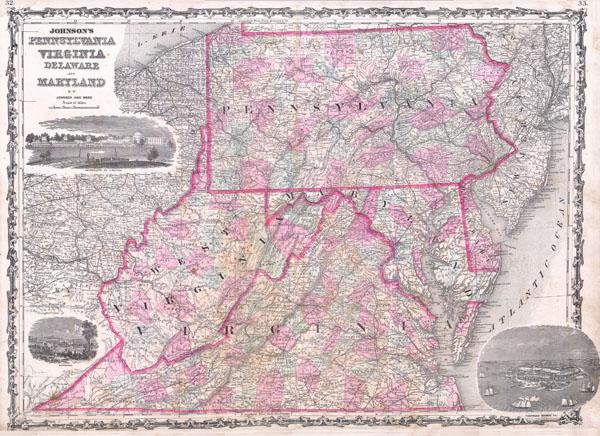 Johnson's Map of Pennsylvania Virginia Delaware and Maryland - Main View