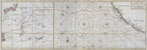 Carte de la Mer du Sud ou Mer Pacifique.