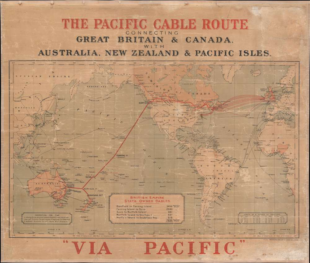 The Pacific Cable Route Connecting Great Britain and Canada with Australia, New Zealand, and Pacific Isles. - Main View