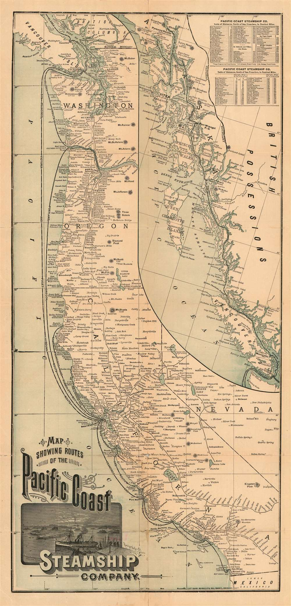 Map Showing Routes of the Pacific Coast Steamship Company. - Main View