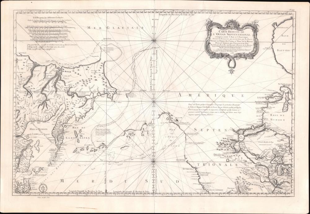 Remarques sur la Carte reduite de l'océan septentrional, compris entre l'Asie et l'Amérique, suivant les découvertes qui ont été faites par les Russes; dressée au Dépôt des cartes et plans de la Marine, pour le service des vaisseaux du roi, par ordre de M. le duc de Praslin, ministre d'etat, ayant le département de la Marine.