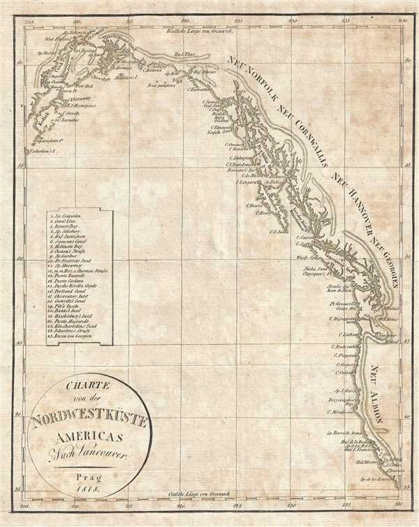 1818 Franz Pluth Map of the Pacific Coast of North America