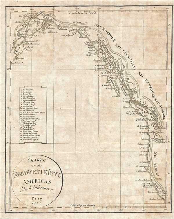 Charte von der Nordwestküste Americas Nach Vancouver.