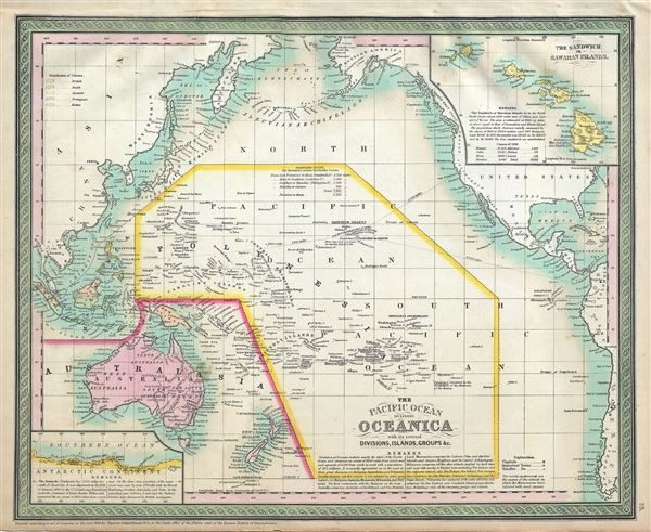 The Pacific Ocean including Oceanica with its several Divisions, Islands, Groups etc. - Main View
