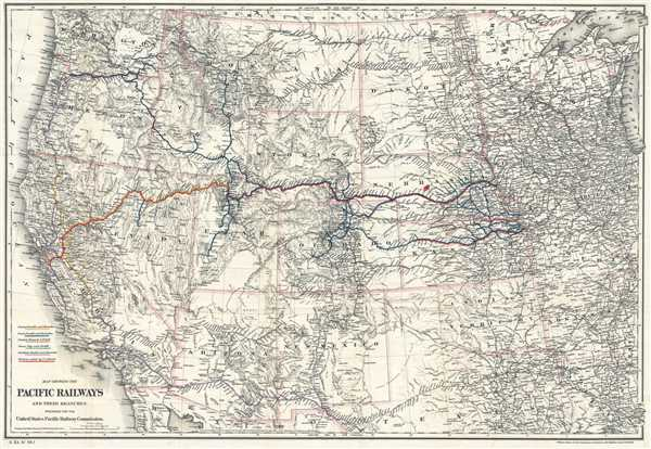 Map Showing The Pacific Railways And Their Branches Prepared For - Railroad-us-map