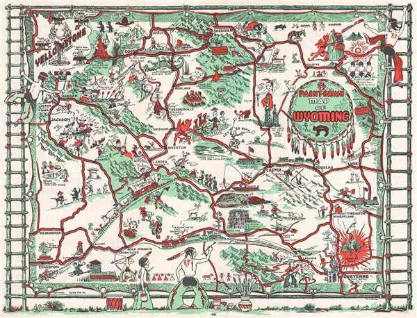 Paint-Brush Map of Wyoming. - Main View
