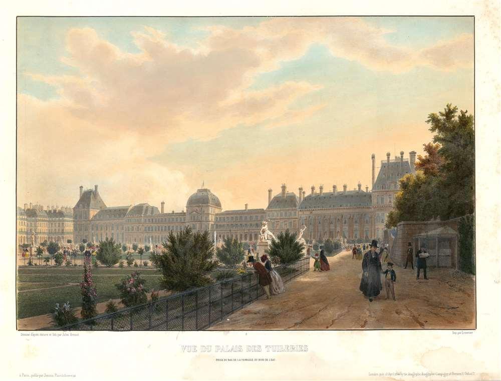 Vue du Palais des Tuileries prise du bas de al terrasse du bord de l'eau. - Main View