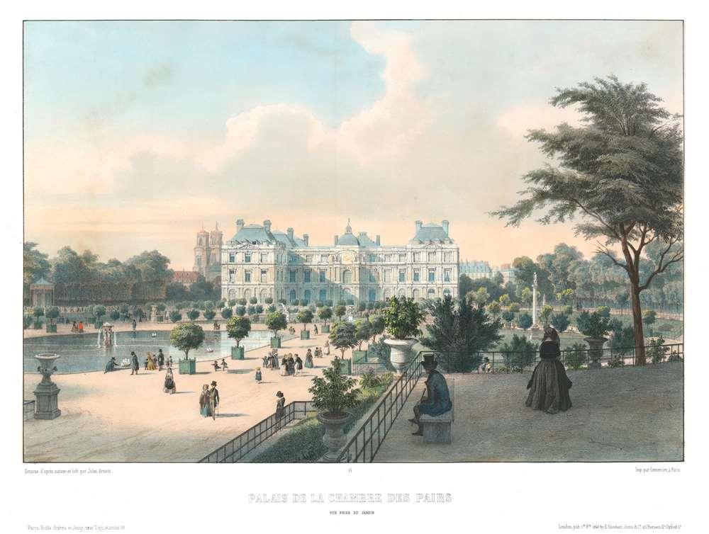 Palais de la Chambre des Pairs. Vue Prise du Jardin. - Main View