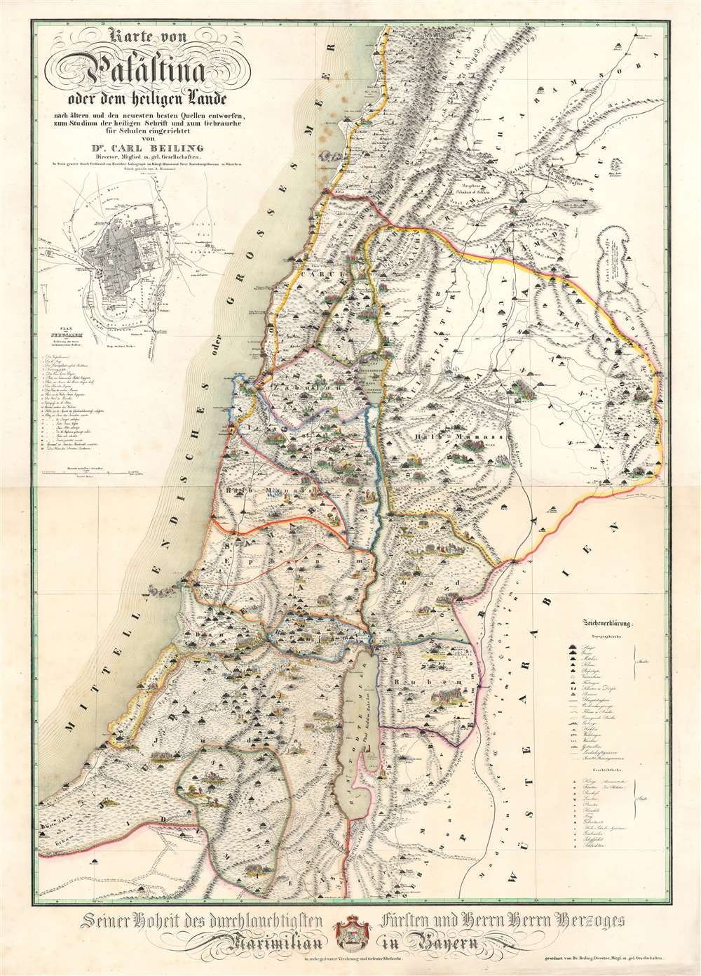 1843 Beiling Map of Palestine or the Holy Land
