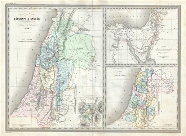 Palestine au temps de Jesus-Christ.  Carte de la route suivie par les Hebreux : Depuis Leur Depart de l'Egypte Jusqua leur entree dans le Pays de Chanaam.  Carte des Tribus d'Israel. - Main View