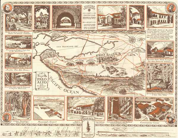 A Pictorial Map of Palo Alto and the San Francisco Peninsula.