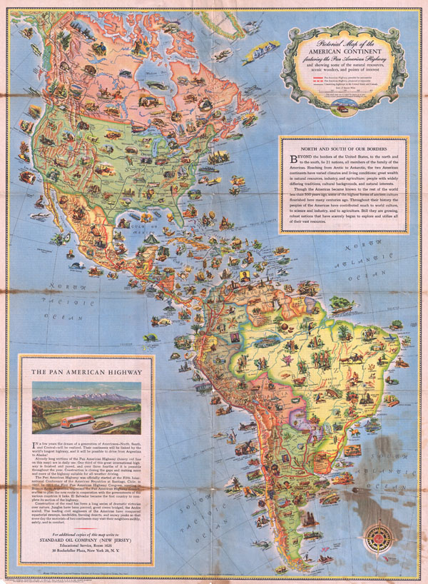 Pictorial Map of the American Continent Following the Pan American Highway