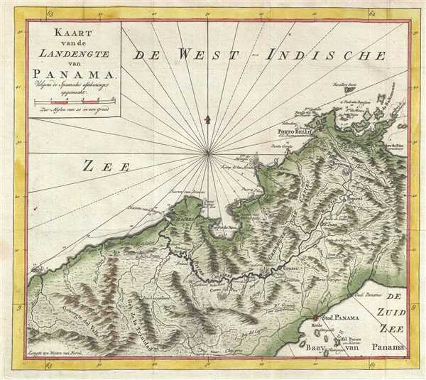 Kaart van de Landengte van Panama. Colgens de Spaansche aftekeninge opgemaakt.