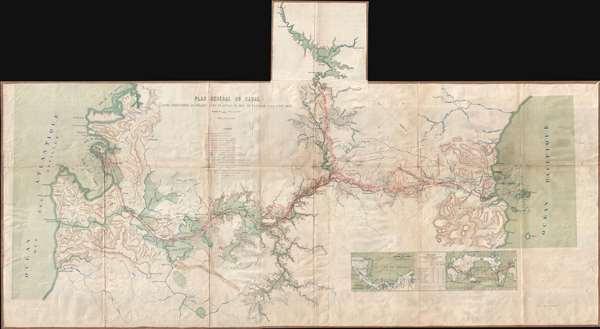 Plan General Du Canal Avec Indication Du Projet Avec Plafond Du Bief De a La Partage A La Cote 20,75.