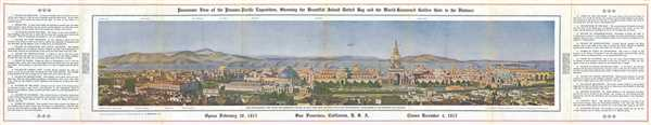 Panoramic View of the Panama-Pacific Exposition, Show the Beautiful Island Dotted Bay and the World-Renowned Golden Gate in the Distance.