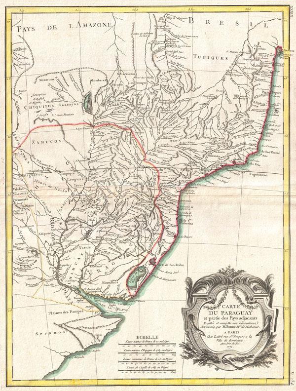 Carte du Paraguay et partie des Pays adjacants.