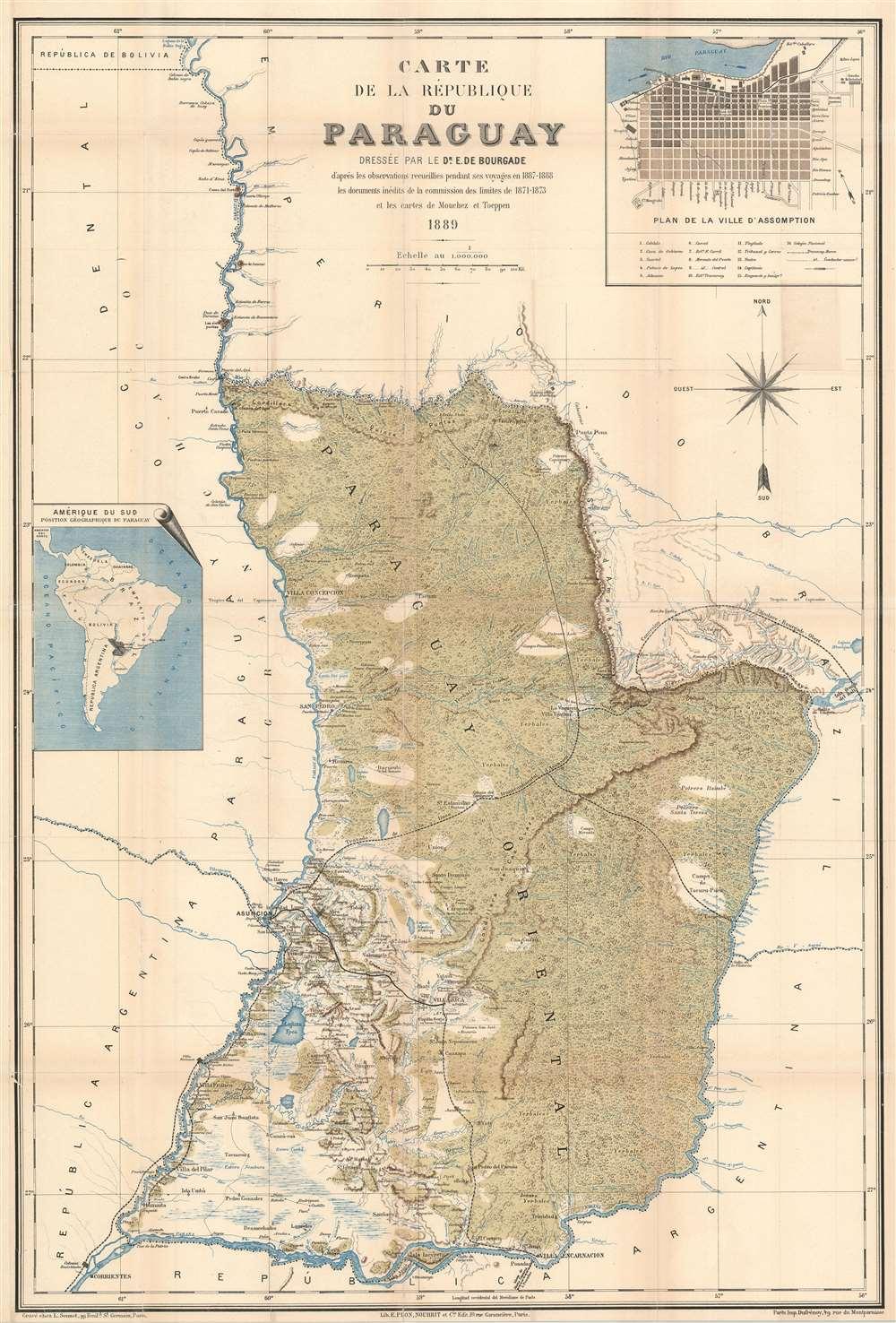 Carte de la République du Paraguay. - Main View