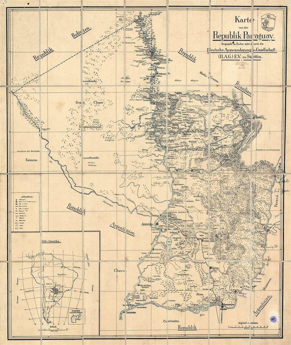 1920 Deutsche Auswanderungs-Gesellschaft Map of Paraguay