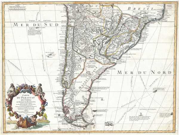 Carte du Paraguay du Chili du Detroit de Magellan etc.