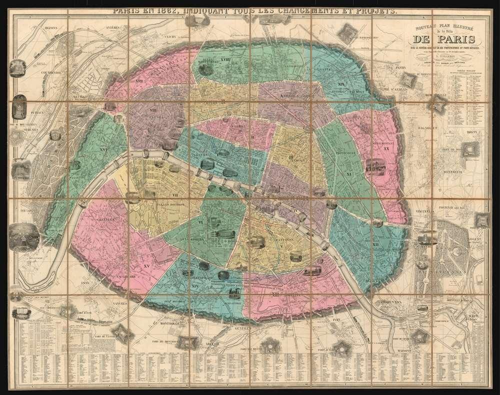 Nouveau plan illustré de la ville de Paris avec le système complet de ses fortifications et forts détachés et les nouvelles divisions en 20 arrondissements. - Main View