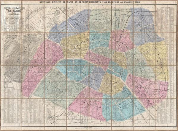 Plan Itineraire de Paris Publie.   Nouvelle Division de Paris en 20 Arrondissements et 80 Quartiers au 1er. Janvier 1860.