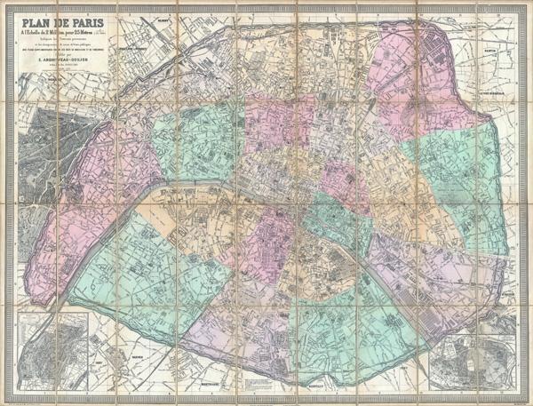 Plan de Paris a l'Echelle de 2 Millim, pour 25 Metres, Indiquant les Nouveaux percements et les changements de noms de Voies publiques avec plans supplementaires pour Les Bois de Boulogne et de Vincennes.