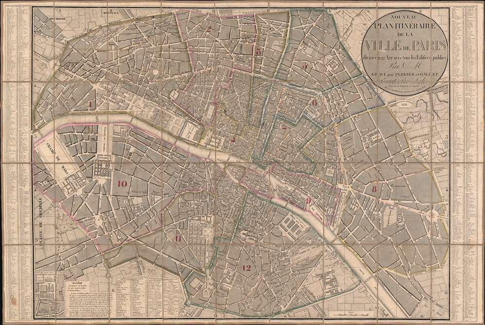 Nouveau Plan Itinéraire de la Ville de Paris divisé en 12 Arr. avec tous les Edifices publics. - Main View