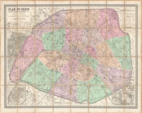 Plan de Paris A l'Echelle de 2 Millim, pour 25 Metres Indiquant les Nouveaux percements et les changements de nomes de voies publiques avec plans supplementaires pour les Bois de Boulogne et de Vincennes.