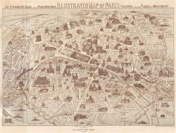 Illustrated Map of Paris Or Stranger's Guide to the Public Buildings, Theatres, Music Halls, and all Places of Amusement.