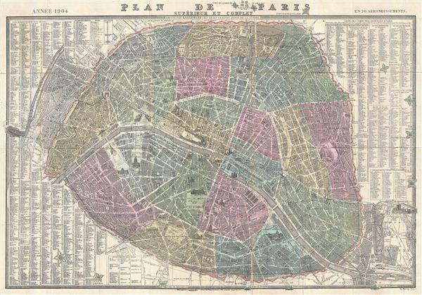 Plan de Paris Superieur et Complet. - Main View