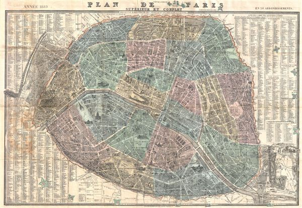 Plan de Paris Superieur et Complet en 20 Arrondissements.