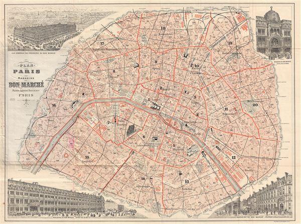Plan de Paris des Magasins du Bon Marche.