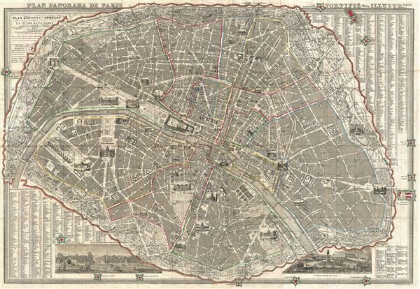 Plan Panorama de Paris Fortifie avec Illustre.tion.