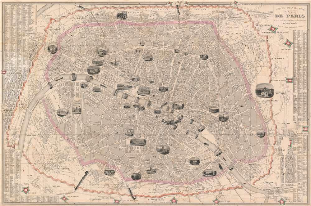Nouveau Plan Illustré de la Ville de Paris avec le systéme complet de ses Fortifications et Forts Détaches. - Main View