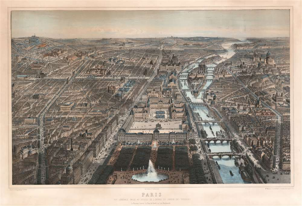 1867 Fichot Lithograph Large Format View Map of Paris, France