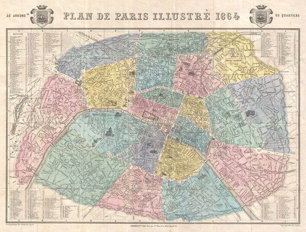 Plan de Paris Illustre 1864.