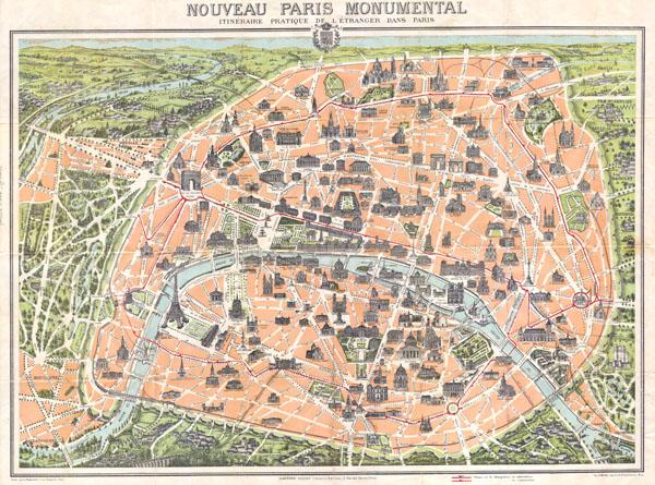 Nouveau Paris Monumental itineraire Pratique de L'Etranger Dans Paris.