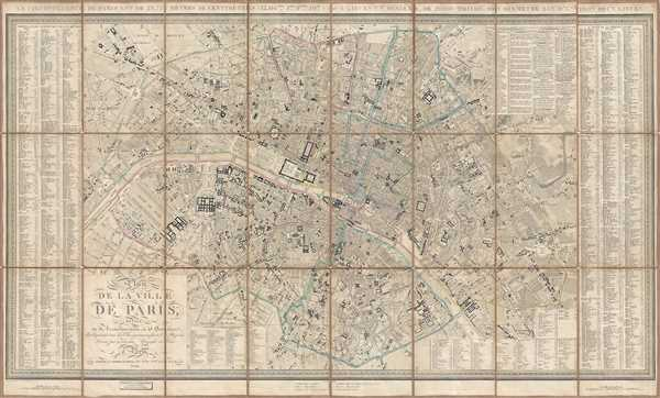 1844 Girard City Map or Plan of Paris, France