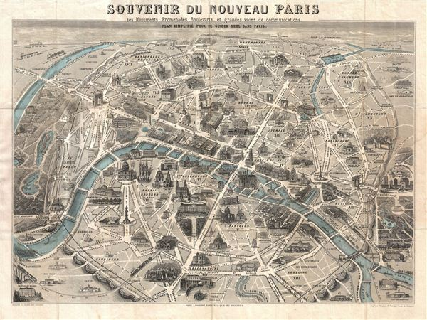 Souvenir du Nouveau Paris ses Monuments Promenades Boulevards et – Map of Paris with Monuments