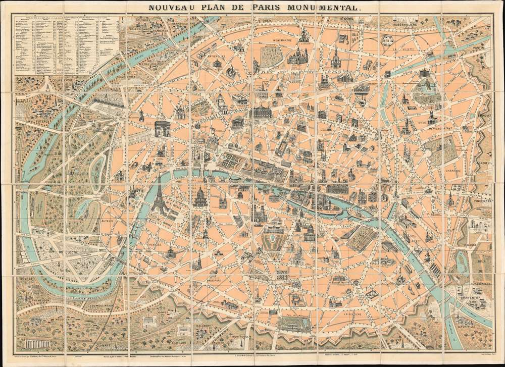 Nouveau Plan de Paris Monumental. - Main View