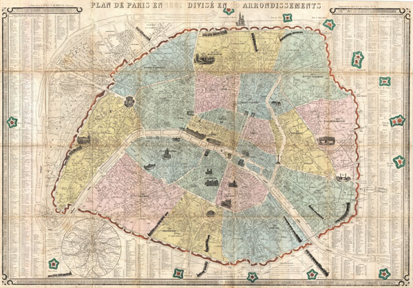 Plan de Paris en 1861 Divise en 20 Arrondissements.