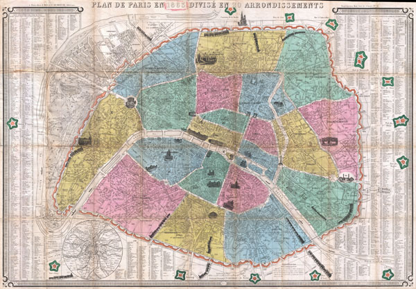 Plan de Paris en 1863 Divise en 20 Arrondissements.
